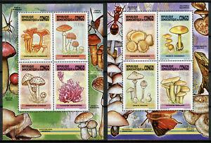 Congo 2013 MNH Mushrooms 2x 4v Deluxe M/S Champignons Fungi Nature Stamps