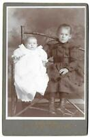 Vintage Old 1890's Cabinet Photo of Girls Sisters Victorian Dress Fresno County