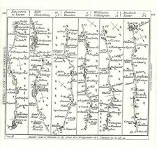 Antique map, The Road from Bristol to Exeter