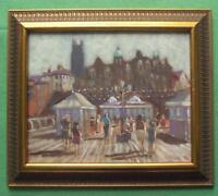The Pier,  Cromer : Original Framed Impressionist Oil Painting David Baxter