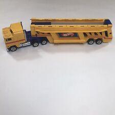 1986 Hot Wheels Car Go Carrier Yellow Transport Truck Case