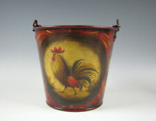W.C. Wrede Folk Art Hand Painted Tole Tin Pail w/Rooster