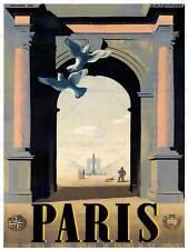 TRAVEL Paris France Cleopatra ago Arc Triomphe Concorde COLOMBA posterbb 7601b