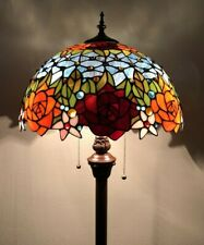 Tiffany Style Floor Lamp Rose Flower Stained Glass Antique Vintage W16*H64Inch