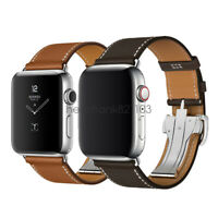 For Apple Watch Band Leather Single Tour Deployment Buckle iWatch Series 6/5/4/3