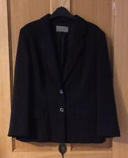Ladies Jaeger Navy Blue Silk Lined Virgin Wool Blazer Suit Jacket UK Size 14