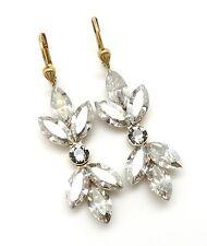 CATHERINE POPESCO Shade Blk Dmnd Josephine-Pave Marquise Swarovski Gold Earrings