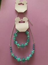 DISNEY Parks MICKEY MOUSE  Icon & Aqua Bling  Beads Bracelet & Necklace NEW