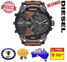 DIESEL DZ7332 MR DADDY 2.0 Gunmetal Brown Leather Chrono Mens Watch
