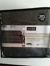 "SureFit Vintage Leather Grey 2 cushion Sofa Cover 74"" to 96"" NIB"