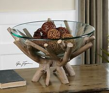 "XXL 20"" THORO FARMHOUSE CLEAR GLASS DECORATIVE BOWL RUSTIC NATURAL WOOD BASE"