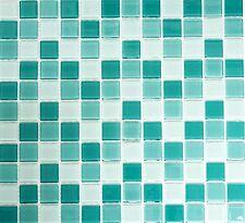 Mosaico piastrella vetro uni turchese muro cucina bagno: 62-0602_b   1 foglio