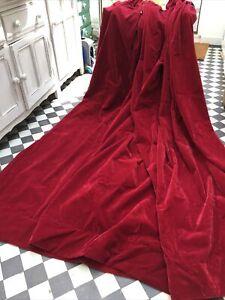 "Vintage Red Velvet Curtains 95""W x83""L, 242 x 211cm"
