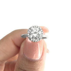 2.00 CT Halo Engagement Ring 10kt White Gold Diamond Classic Engagement Ring