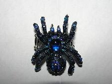 Costume Jewelry Spider Ring Bug Halloween Sapphire Rhinestone Royal Blue Flexban