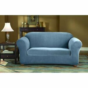 sure fit French Blue Stretch Pinstripe Sofa Slipcover