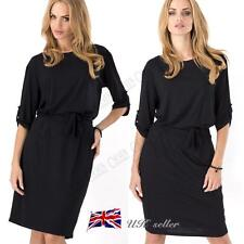 UK Womens Ladies Shift Party Casual Dress With Belt Boat Neck 3/4 Sleev Tops