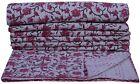 Indian Handmade Floral Reversible Kantha Quilt Bedspread Blanket Ralli Throw