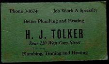 Blotter H J Tolker Plumbing & Heating Phone 3-1674