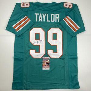 Autographed/Signed JASON TAYLOR Miami Teal Football Jersey JSA COA Auto