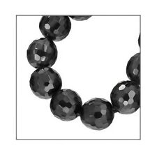 6 Cubic Zirconia Faceted Round Beads 6mm Black #64014