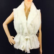 XOXO Faux Fur Belted Cable Sweater Vest, white, size XL NWT