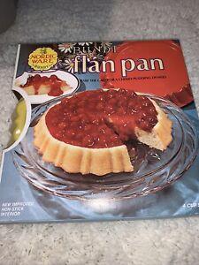 Vintage Nordicware Bundt Flan Pan Non Stick 4 Cup Harvest Yellow 43423 w/ Recipe