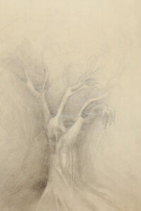 Vintage modernist landscape tree pencil painting