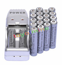 20 X AAA 3A 1800mah1.2V NiMH rechargeable battery Grey+USB Charger