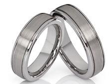 2 wolframio anillos de compromiso Boda pareja con grabado láser