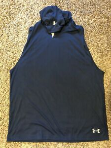 mens under armour hooded sleeveless shirt  loose navy size XL