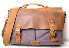 Lifewit BROWN WAX LEATHER GRAY CANVAS FLAP SHOULDER BAG PADDED LAPTOP BRIEFCASE