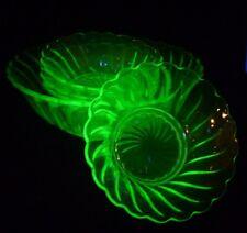 ART DECO BAGLEY URANIUM GREEN GLASS BOWL AND 4 SUNDAE FRUIT ICE CREAM DISH SET