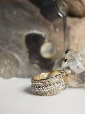 MHJ 10K YELLOW & WHITE GOLD WITH 1.00 CARAT OF DIAMONDS LADIES 5 ROW RING