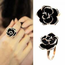 Crystal Women Gold Black Adjustable Rose Flower Ring