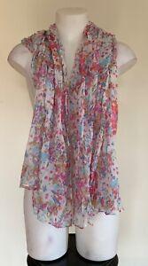 ** O'STIN ** Womens White Pink Blue Floral Print Lightweight Beach Sheer Scarf