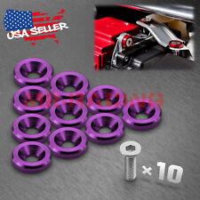 10PCS Purple Billet Aluminum Bumper Fender Washer Bolt Engine Bay Screw Dress Up