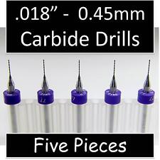 ".018"" 0.45mm #77 - Five Carbide Drill Bits - Wood Metal Plastic Aluminum cnc R/S"
