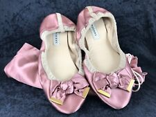 Burberry Ballerina Lounge Slippers Pink Satin/Leather Insole & Trim NWOT/B