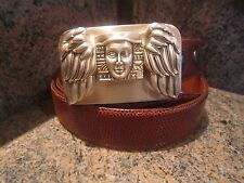 Rare Kieselstein-Cord Sterling Winged Victory Buckle With Brown Lizard Belt