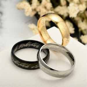 Lord of the Rings The One Ring Stainless Steel Elf Letter Wedding Band Ring 6mm