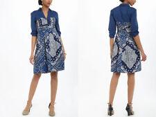 New-Size 4-Anthropologie-HoldingHorses-Women Shirtdress-Flared Bandana-Blue Bati