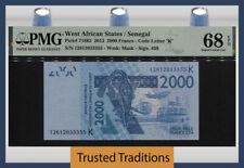 TT PK 716K1 2012 WEST AFRICAN STATES / SENEGAL 2000 FRANCS PMG 68 EPQ SUPERB GEM