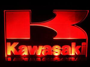 Kawasaki Bike Japan Motocycles Logo LED Light Lamp Man cave room Garage Signs