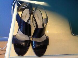 BALDININI Sandalen Damen mit Metall Absatz Gr.37,5 Swarz Lackleder