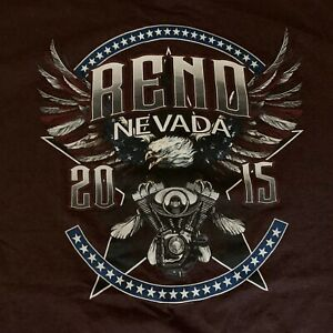 Brown Harley Davidson Motor Cycle T Shirt  2XL Reno Nevada 2015