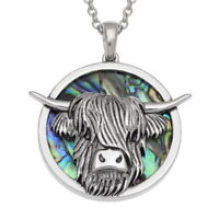 Highland Cattle Cow Necklace Paua Abalone Shell Jewellery and Chain - Gift Boxed