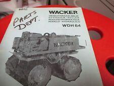 Wacker WDH 84 Roller Compactor Parts Catalog Manual