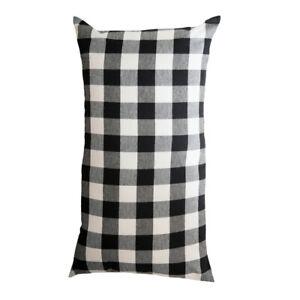 "Buffalo Check Black Lumbar Pillow Cover 15""x27"" by Raghu"