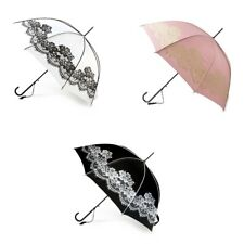Boutique Vintage White & Black Lace Walking Length Stick Umbrella Wedding Bride
